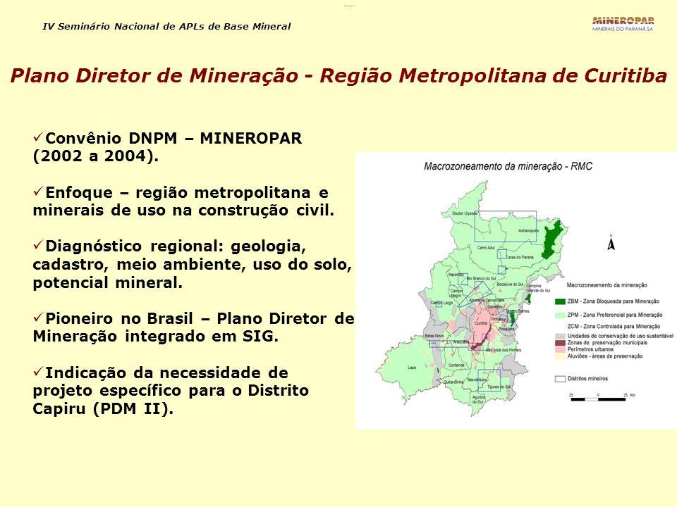 Plano Diretor de Mineração - Região Metropolitana de Curitiba