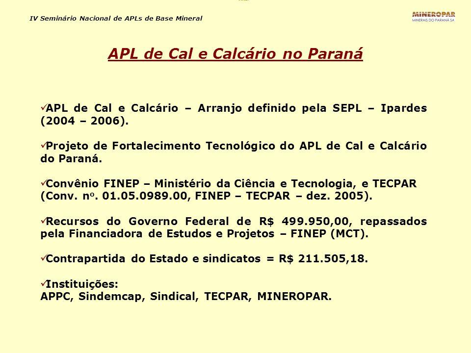 APL de Cal e Calcário no Paraná
