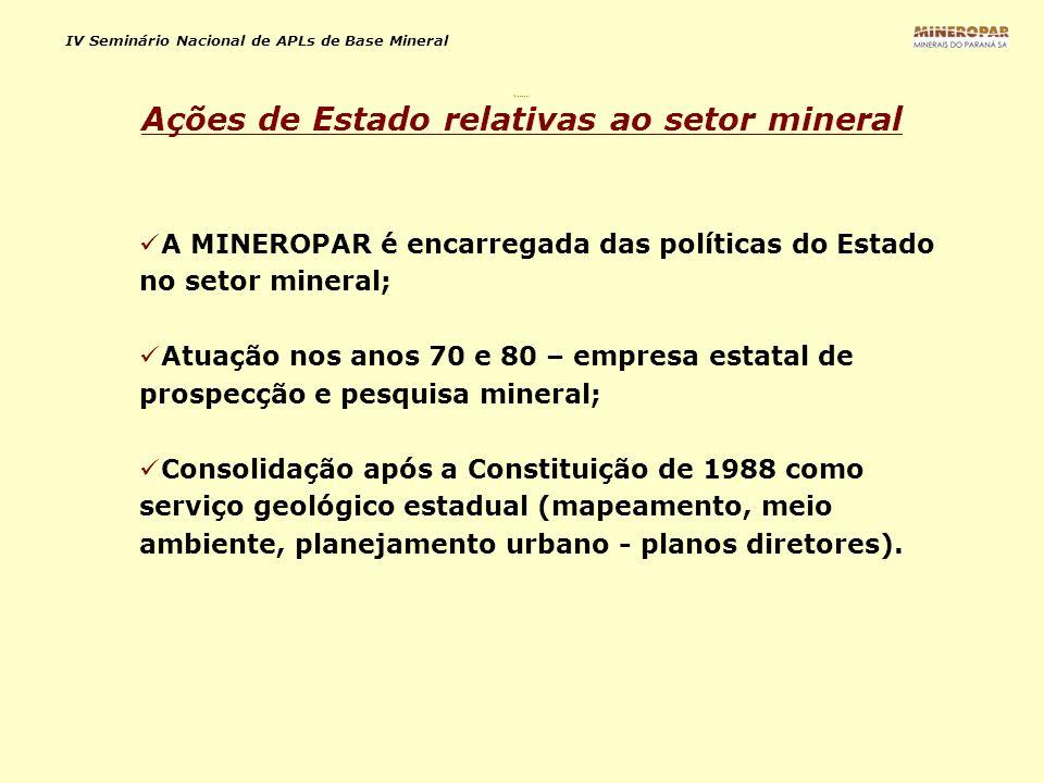 Ações de Estado relativas ao setor mineral