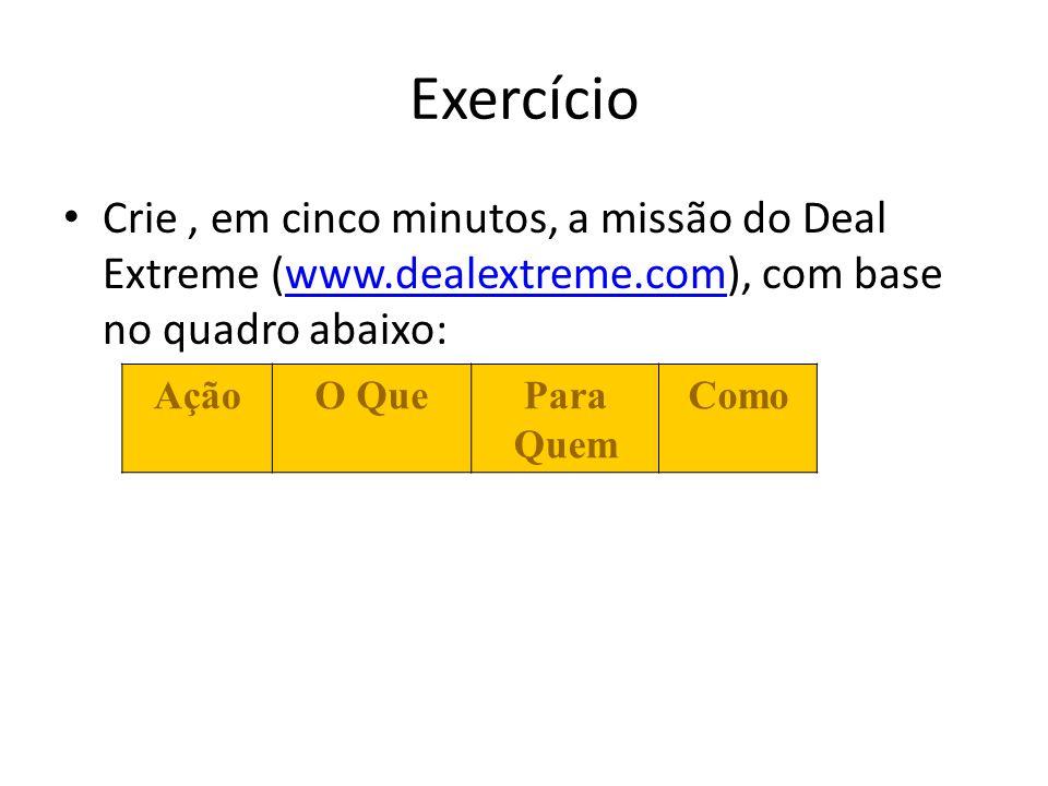 Exercício Crie , em cinco minutos, a missão do Deal Extreme (www.dealextreme.com), com base no quadro abaixo: