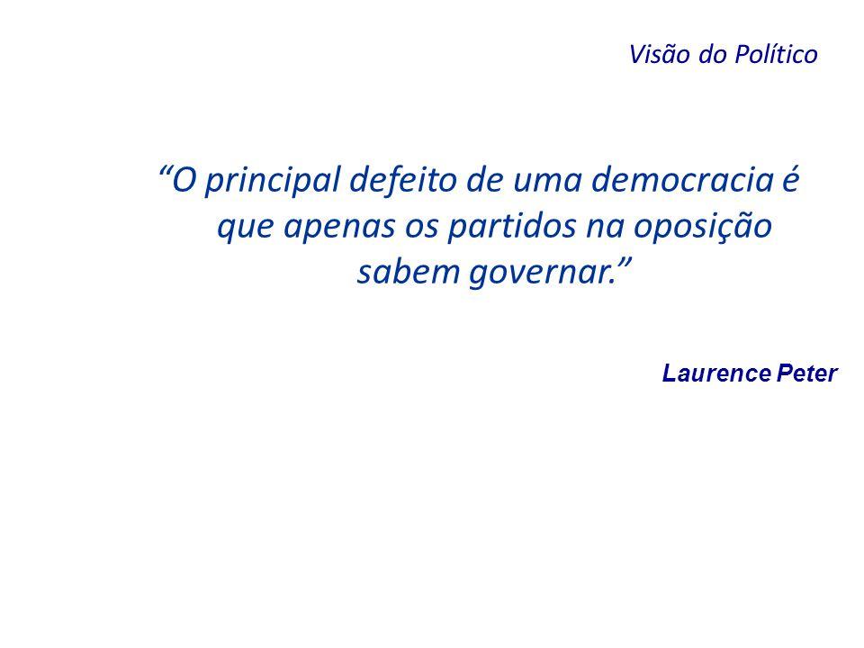 Visão do Político O principal defeito de uma democracia é que apenas os partidos na oposição sabem governar.