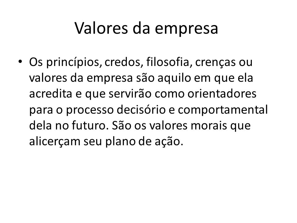 Valores da empresa