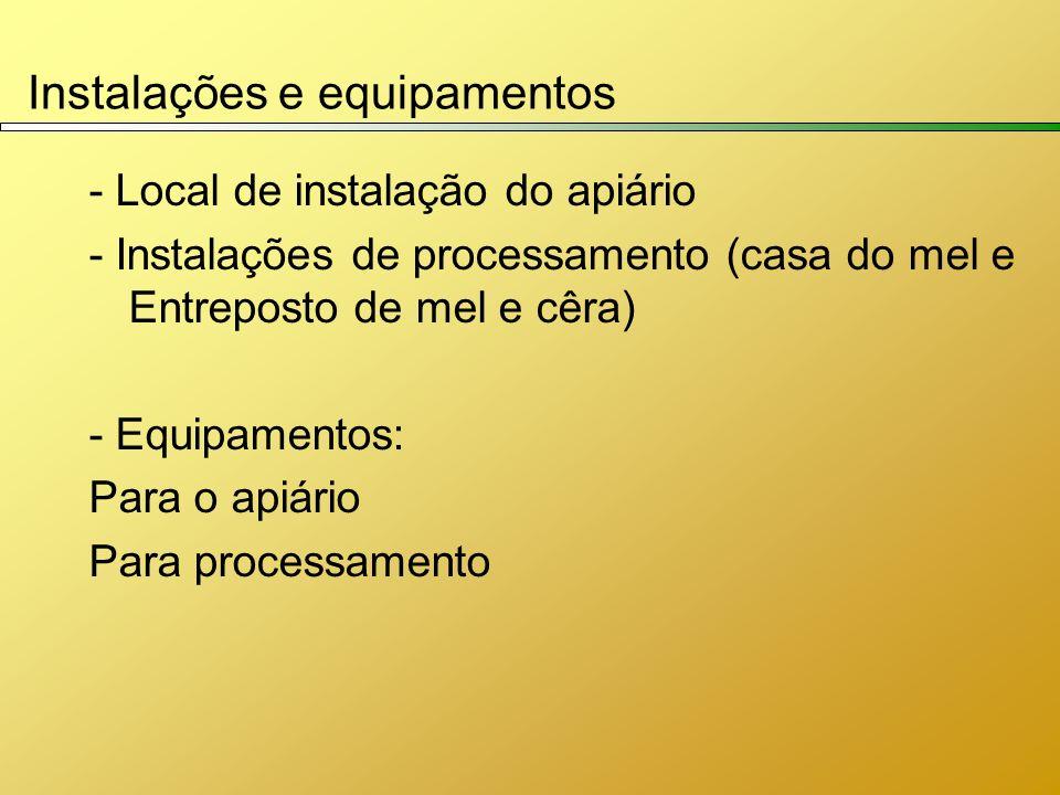 Instalações e equipamentos