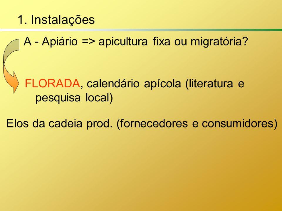 1. Instalações A - Apiário => apicultura fixa ou migratória