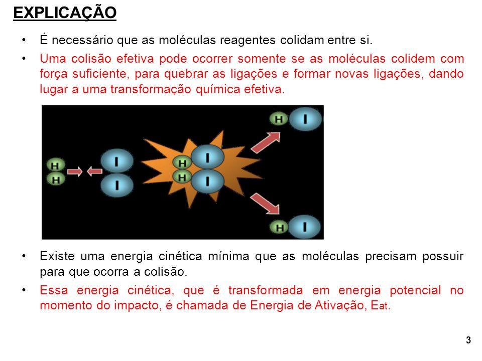 EXPLICAÇÃO É necessário que as moléculas reagentes colidam entre si.
