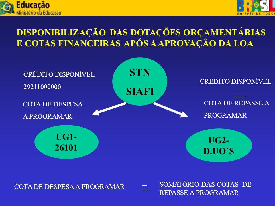 DISPONIBILIZAÇÃO DAS DOTAÇÕES ORÇAMENTÁRIAS E COTAS FINANCEIRAS APÓS A APROVAÇÃO DA LOA