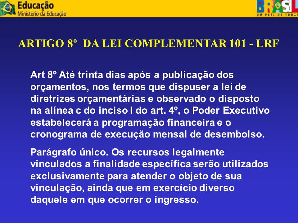 ARTIGO 8º DA LEI COMPLEMENTAR 101 - LRF