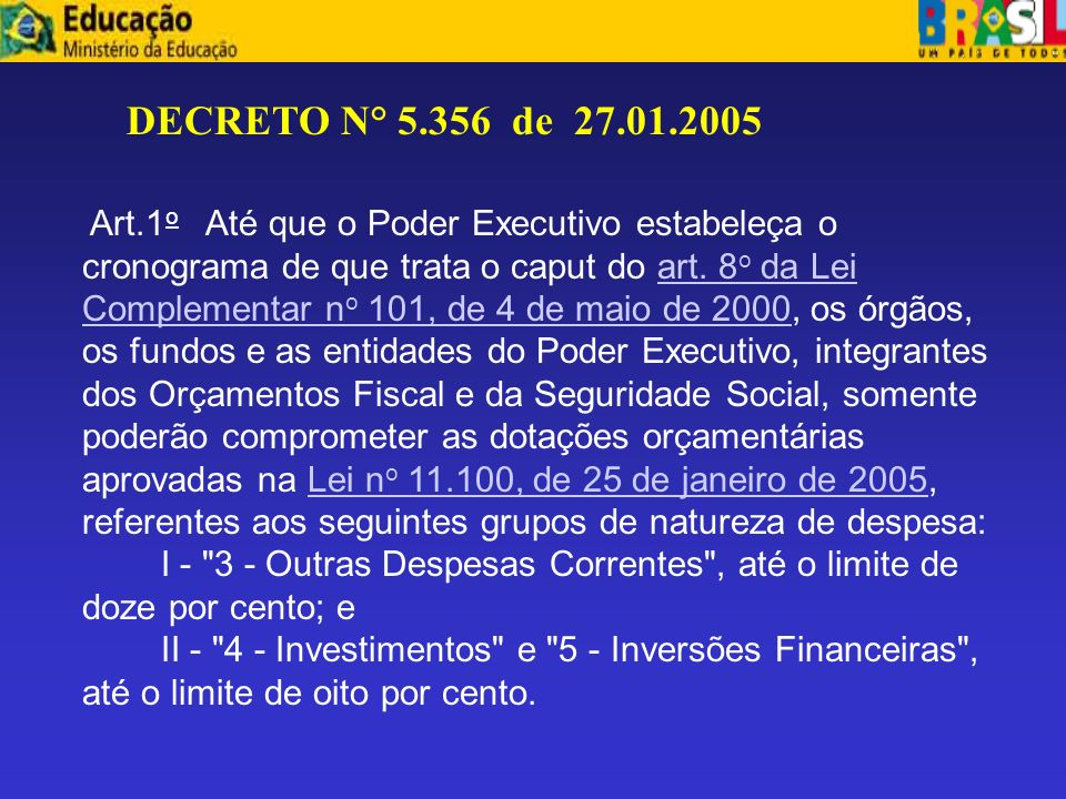 DECRETO N° 5.356 de 27.01.2005