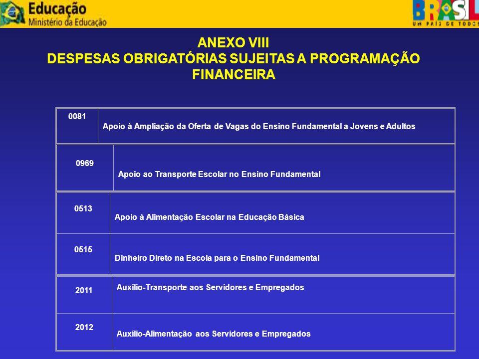 DESPESAS OBRIGATÓRIAS SUJEITAS A PROGRAMAÇÃO FINANCEIRA