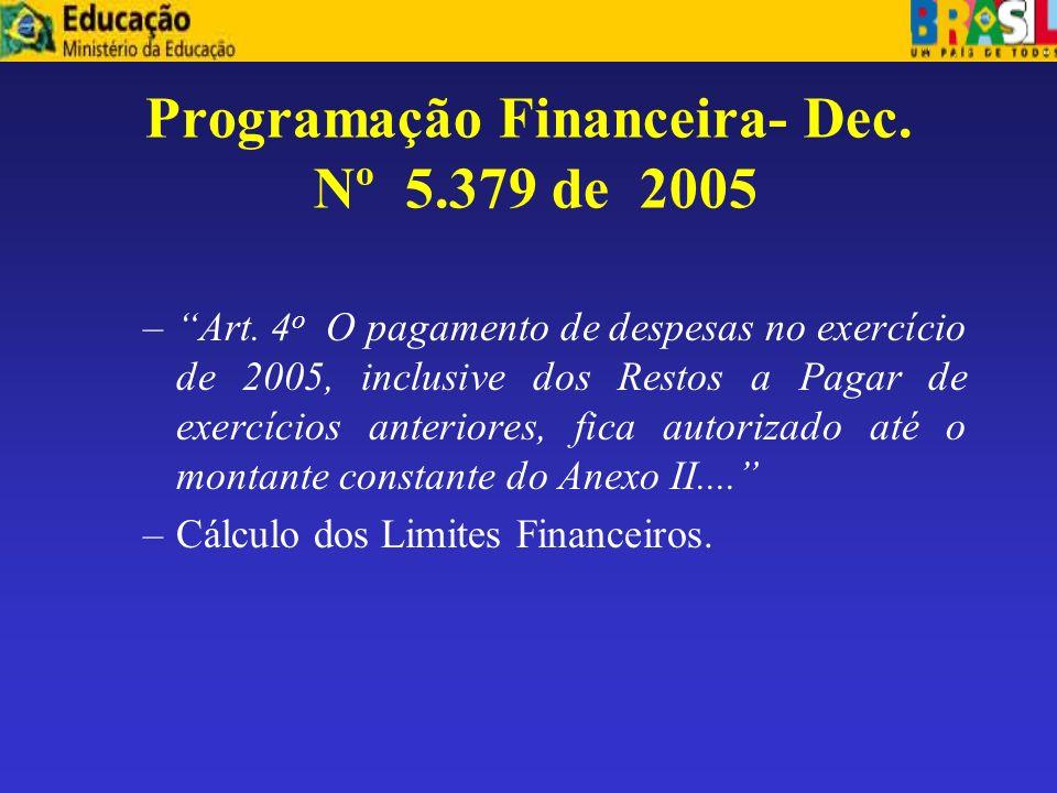 Programação Financeira- Dec. Nº 5.379 de 2005