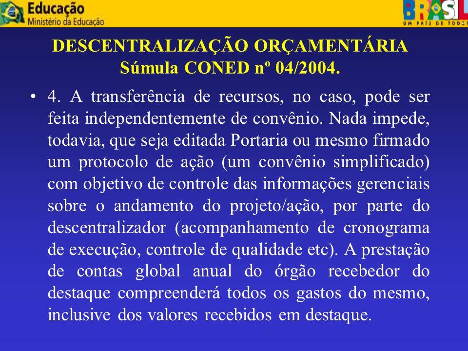 DESCENTRALIZAÇÃO ORÇAMENTÁRIA Súmula CONED nº 04/2004.