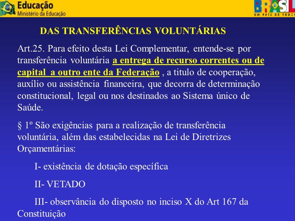 DAS TRANSFERÊNCIAS VOLUNTÁRIAS