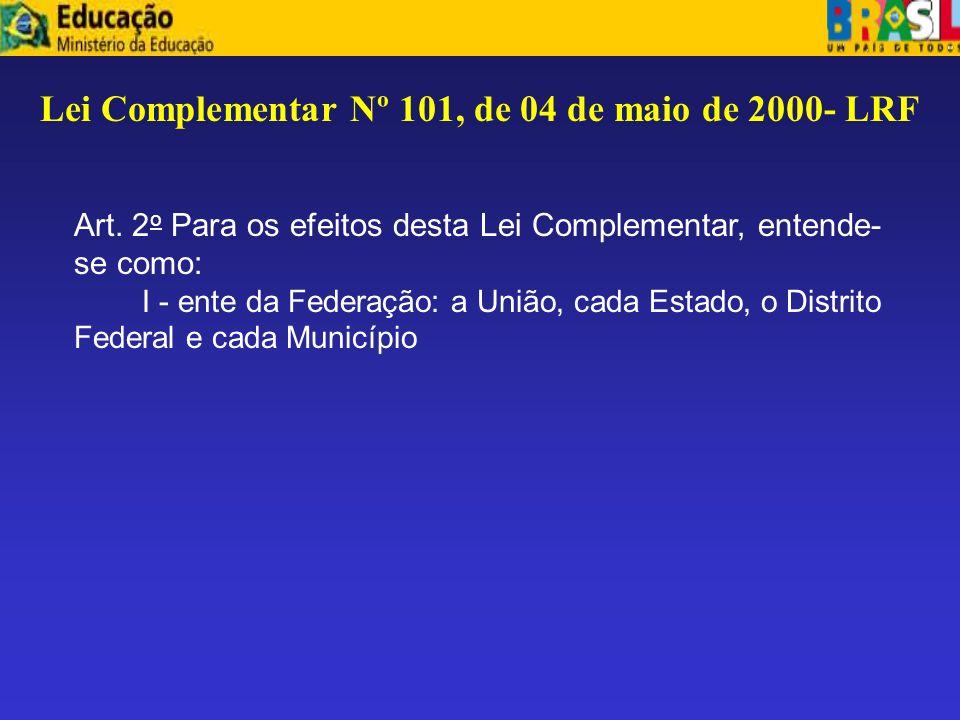 Lei Complementar Nº 101, de 04 de maio de 2000- LRF