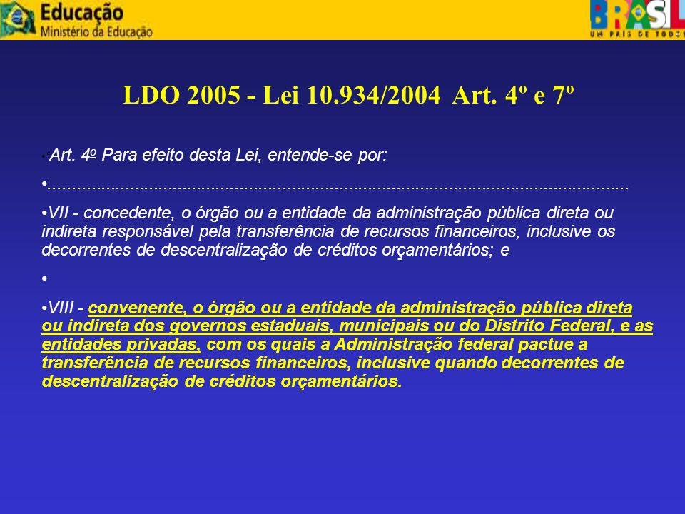 LDO 2005 - Lei 10.934/2004 Art. 4º e 7º Art. 4o Para efeito desta Lei, entende-se por: