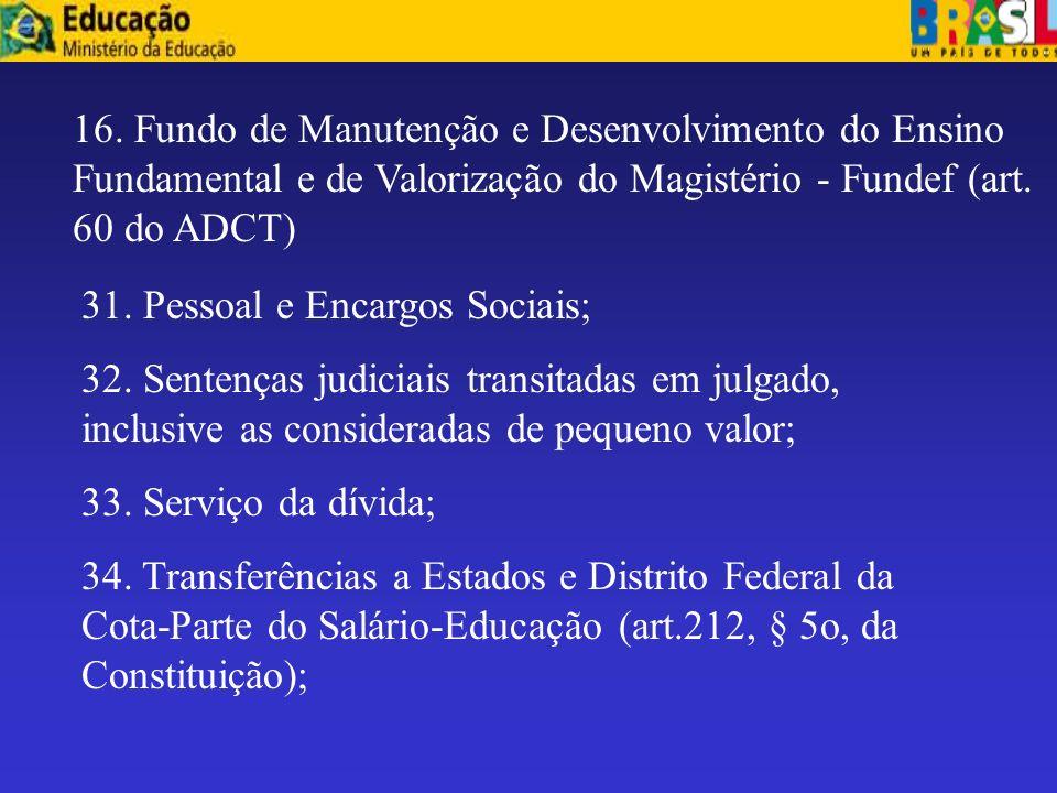 16. Fundo de Manutenção e Desenvolvimento do Ensino Fundamental e de Valorização do Magistério - Fundef (art. 60 do ADCT)