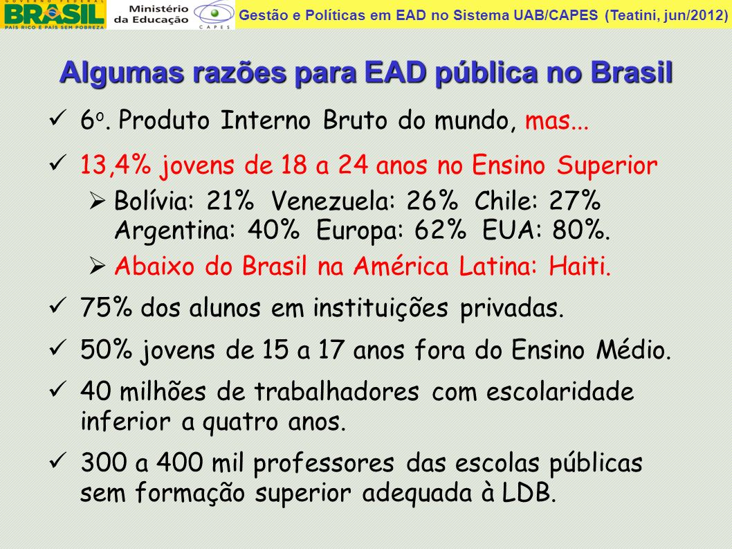 Algumas razões para EAD pública no Brasil