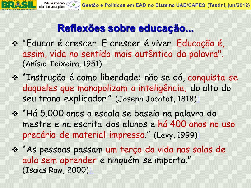 Reflexões sobre educação...