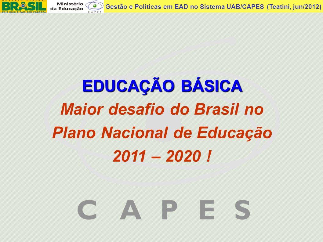 Maior desafio do Brasil no Plano Nacional de Educação 2011 – 2020 !