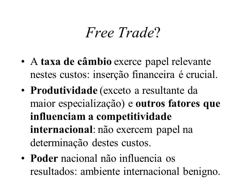 Free Trade A taxa de câmbio exerce papel relevante nestes custos: inserção financeira é crucial.