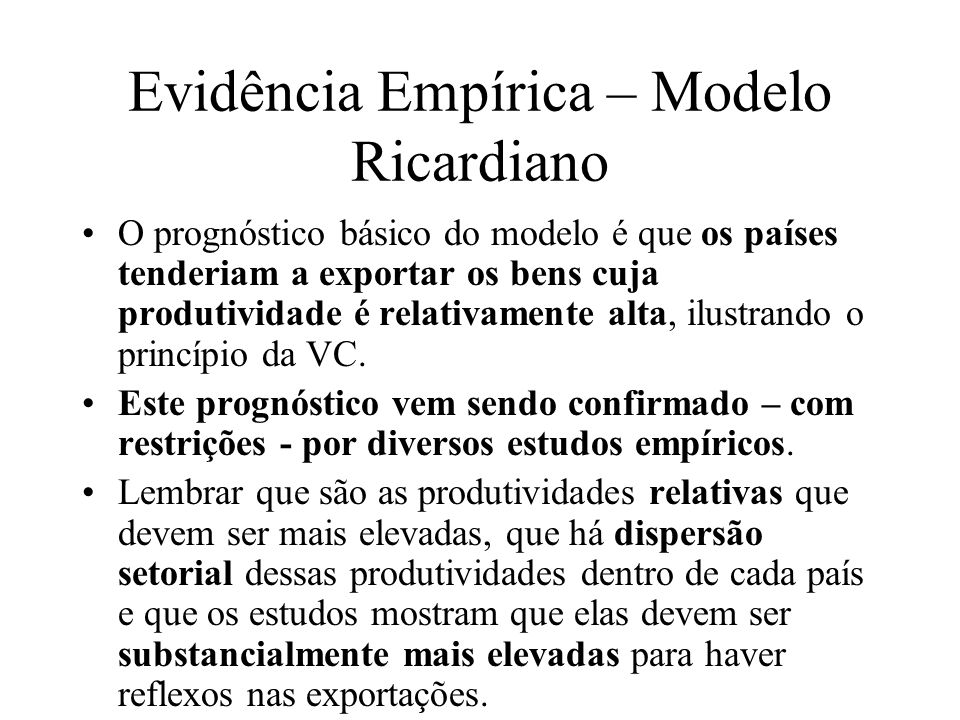 Evidência Empírica – Modelo Ricardiano