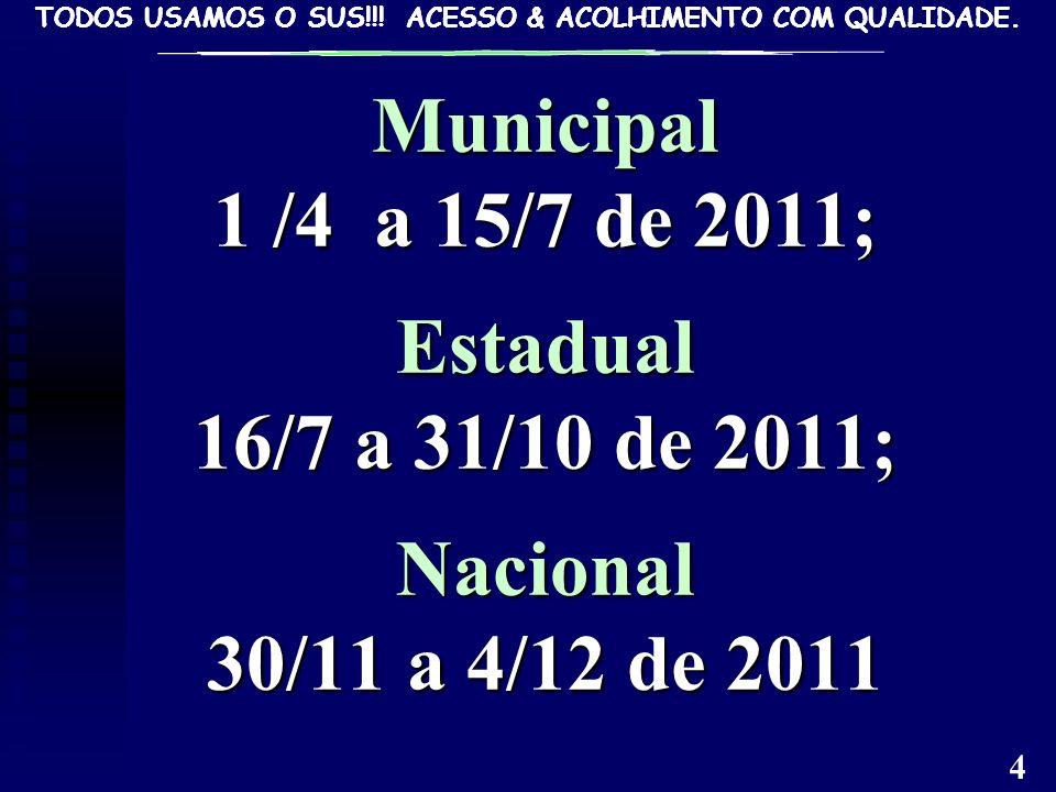 Municipal 1 /4 a 15/7 de 2011; Estadual 16/7 a 31/10 de 2011; Nacional