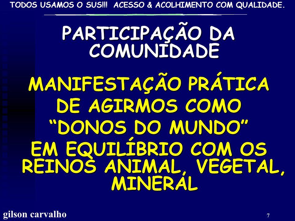 PARTICIPAÇÃO DA COMUNIDADE MANIFESTAÇÃO PRÁTICA DE AGIRMOS COMO