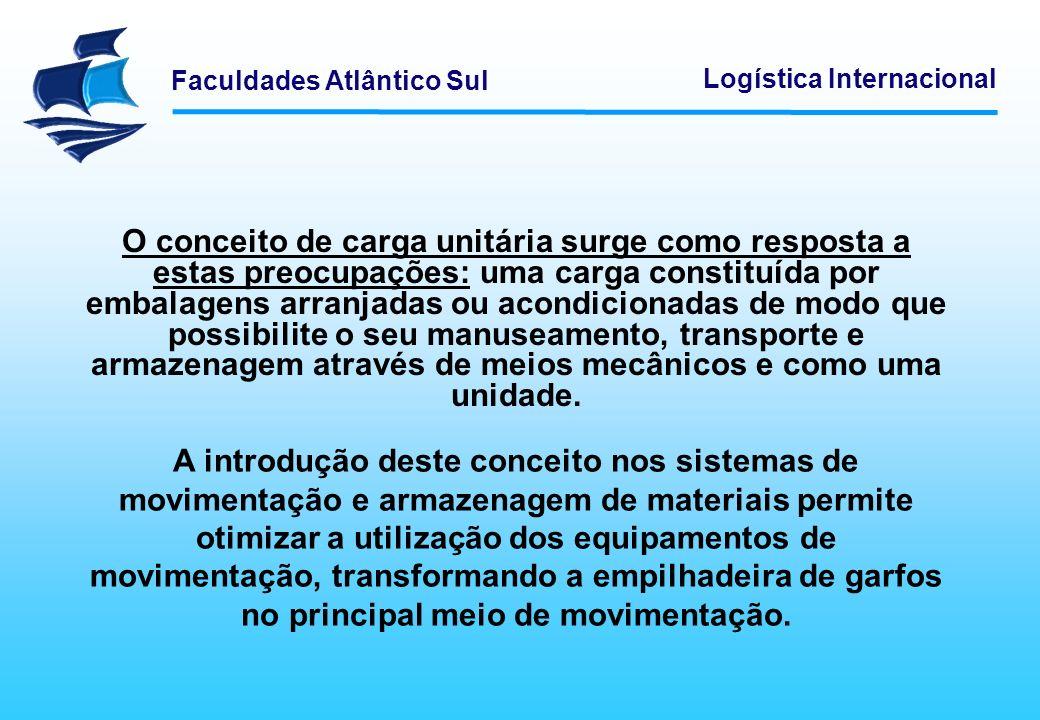 O conceito de carga unitária surge como resposta a estas preocupações: uma carga constituída por embalagens arranjadas ou acondicionadas de modo que possibilite o seu manuseamento, transporte e armazenagem através de meios mecânicos e como uma unidade.
