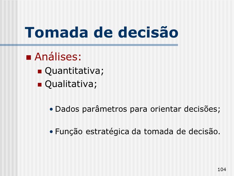 Tomada de decisão Análises: Quantitativa; Qualitativa;