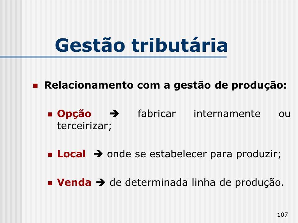 Gestão tributária Relacionamento com a gestão de produção: