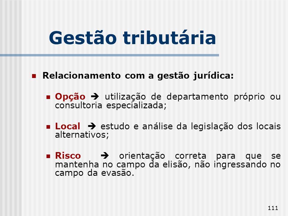 Gestão tributária Relacionamento com a gestão jurídica: