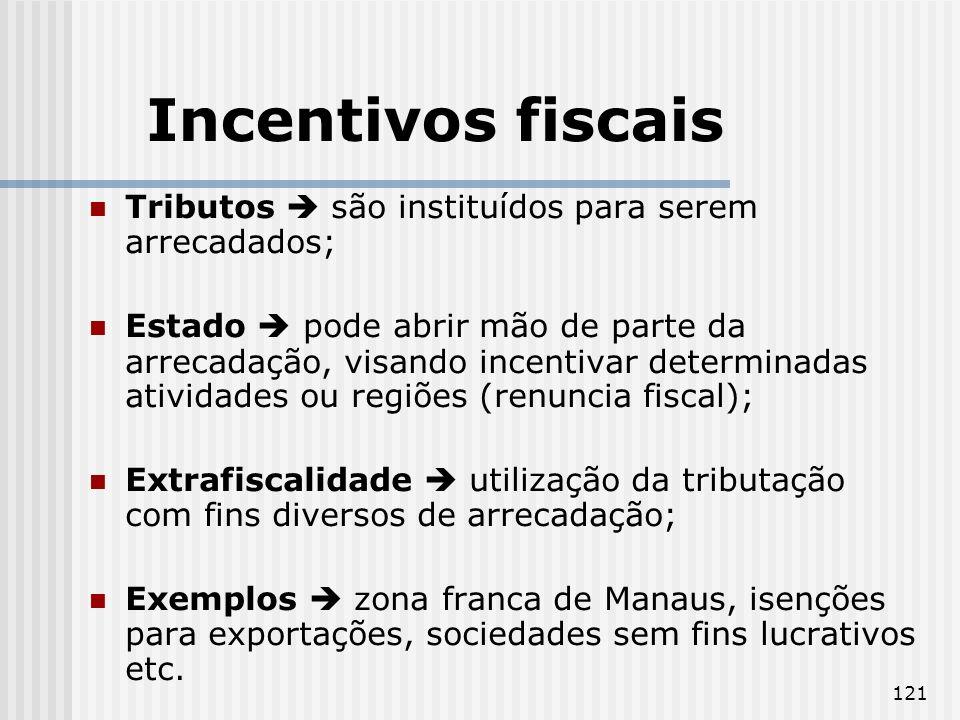 Incentivos fiscais Tributos  são instituídos para serem arrecadados;