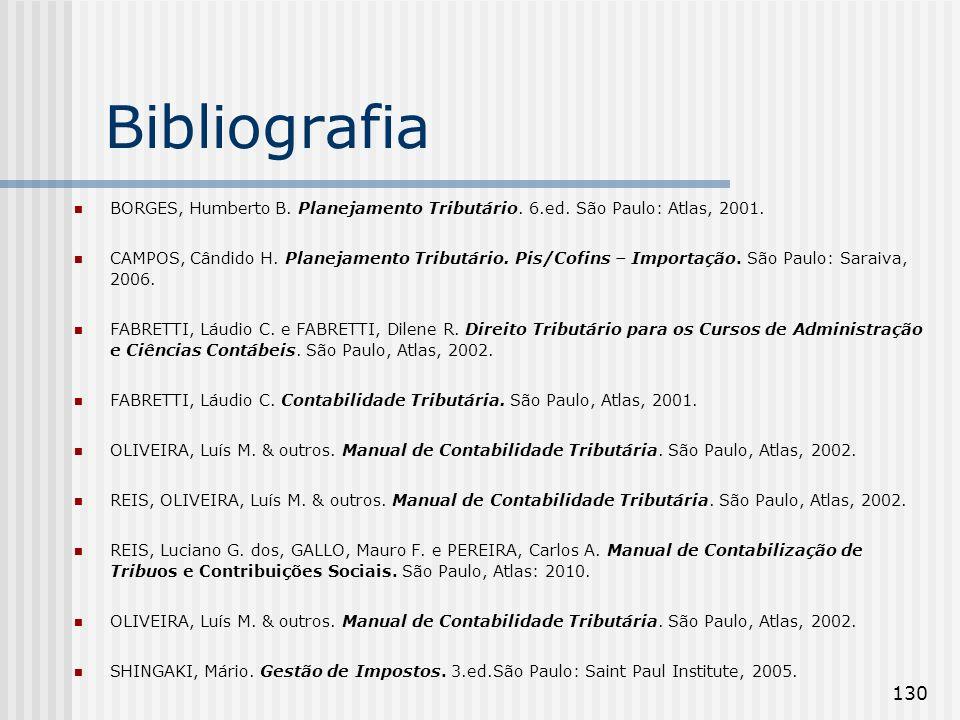 Bibliografia BORGES, Humberto B. Planejamento Tributário. 6.ed. São Paulo: Atlas, 2001.