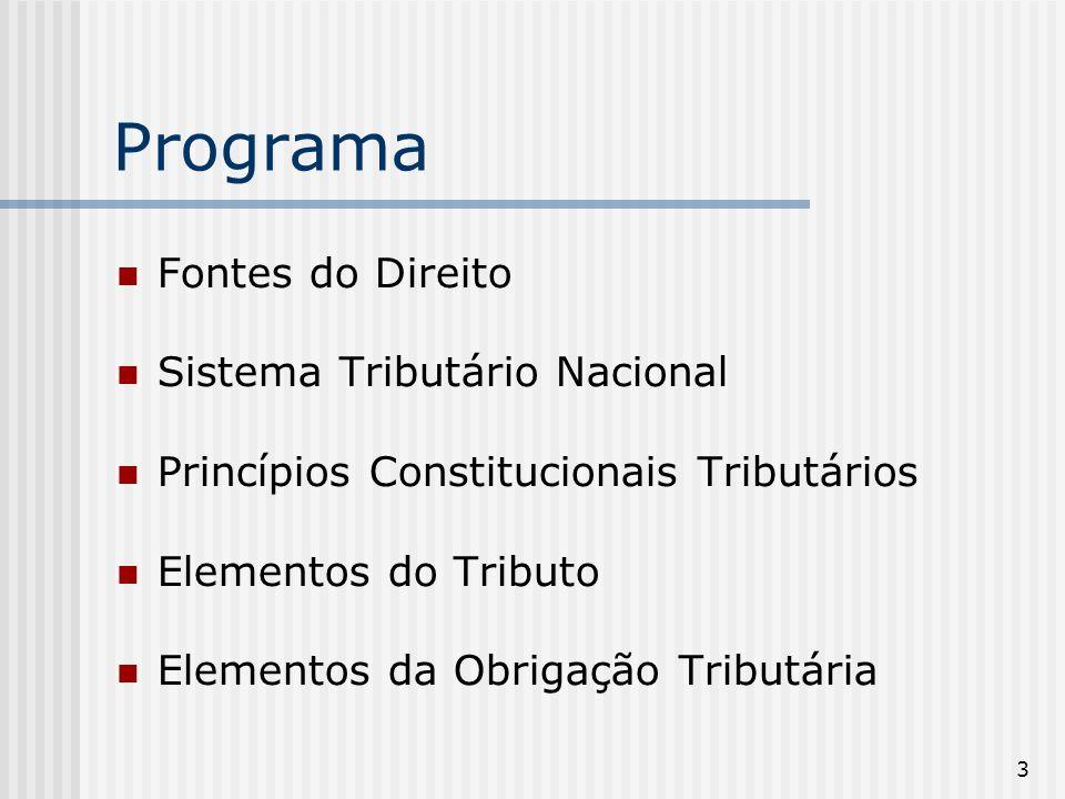 Programa Fontes do Direito Sistema Tributário Nacional