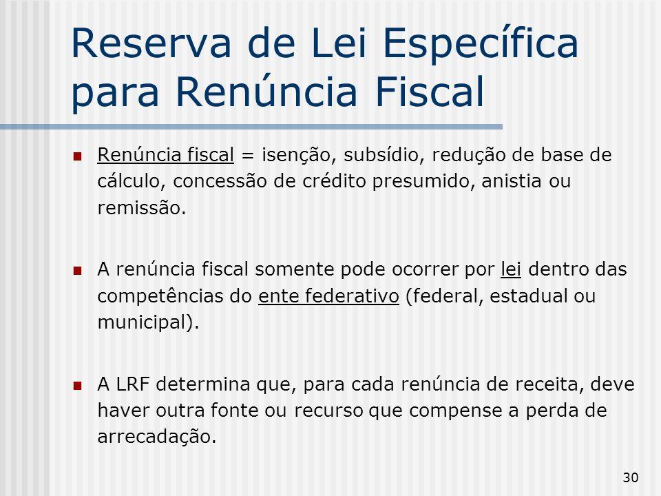 Reserva de Lei Específica para Renúncia Fiscal
