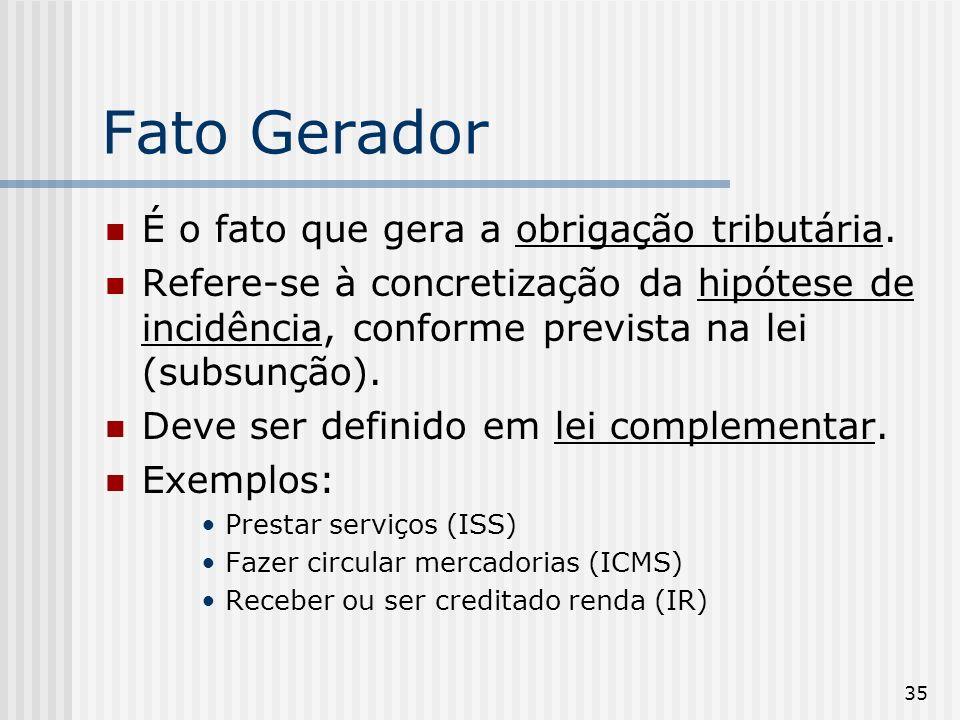 Fato Gerador É o fato que gera a obrigação tributária.