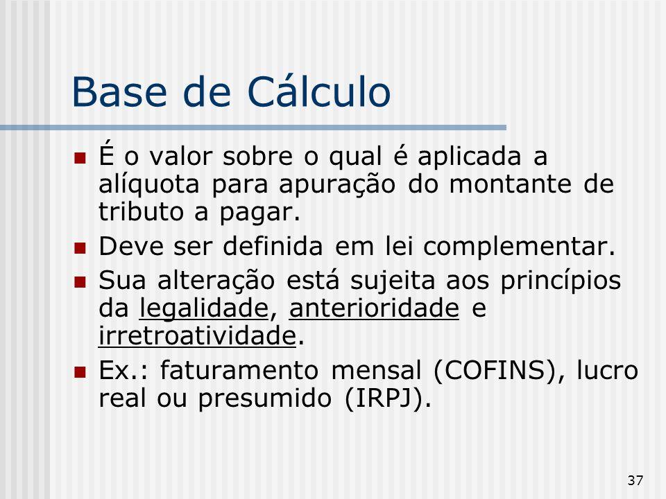Base de Cálculo É o valor sobre o qual é aplicada a alíquota para apuração do montante de tributo a pagar.