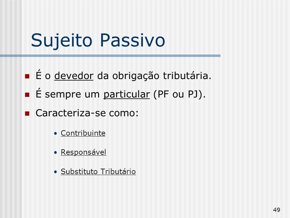 Sujeito Passivo É o devedor da obrigação tributária.