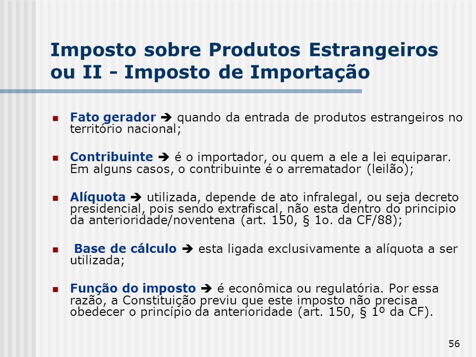Imposto sobre Produtos Estrangeiros ou II - Imposto de Importação