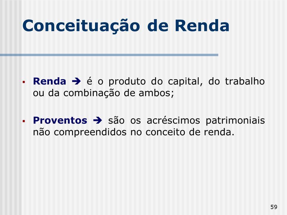 Conceituação de Renda Renda  é o produto do capital, do trabalho ou da combinação de ambos;