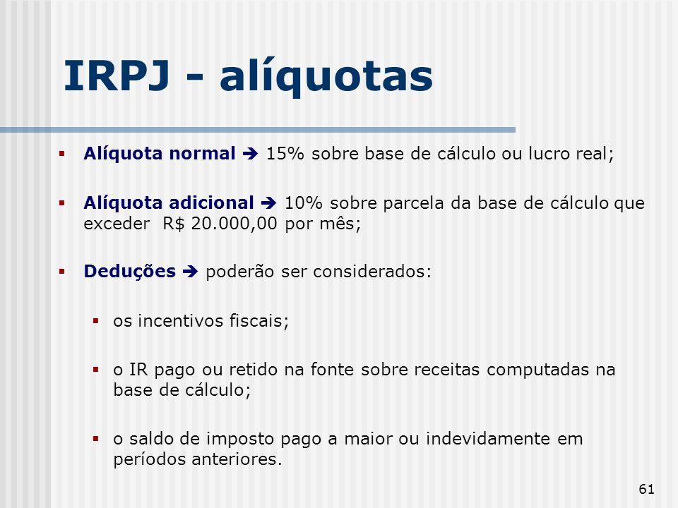 IRPJ - alíquotas Alíquota normal  15% sobre base de cálculo ou lucro real;