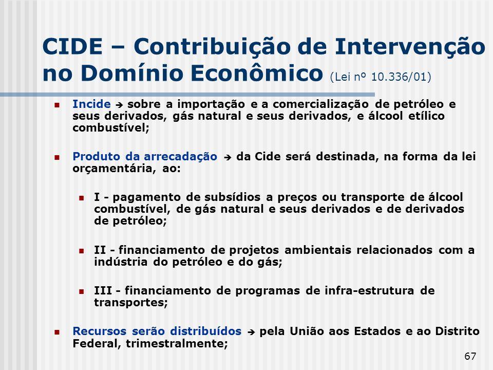 CIDE – Contribuição de Intervenção no Domínio Econômico (Lei nº 10