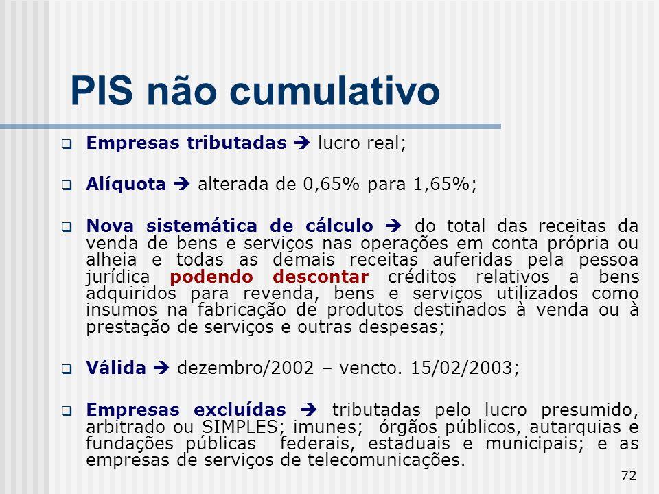 PIS não cumulativo Empresas tributadas  lucro real;
