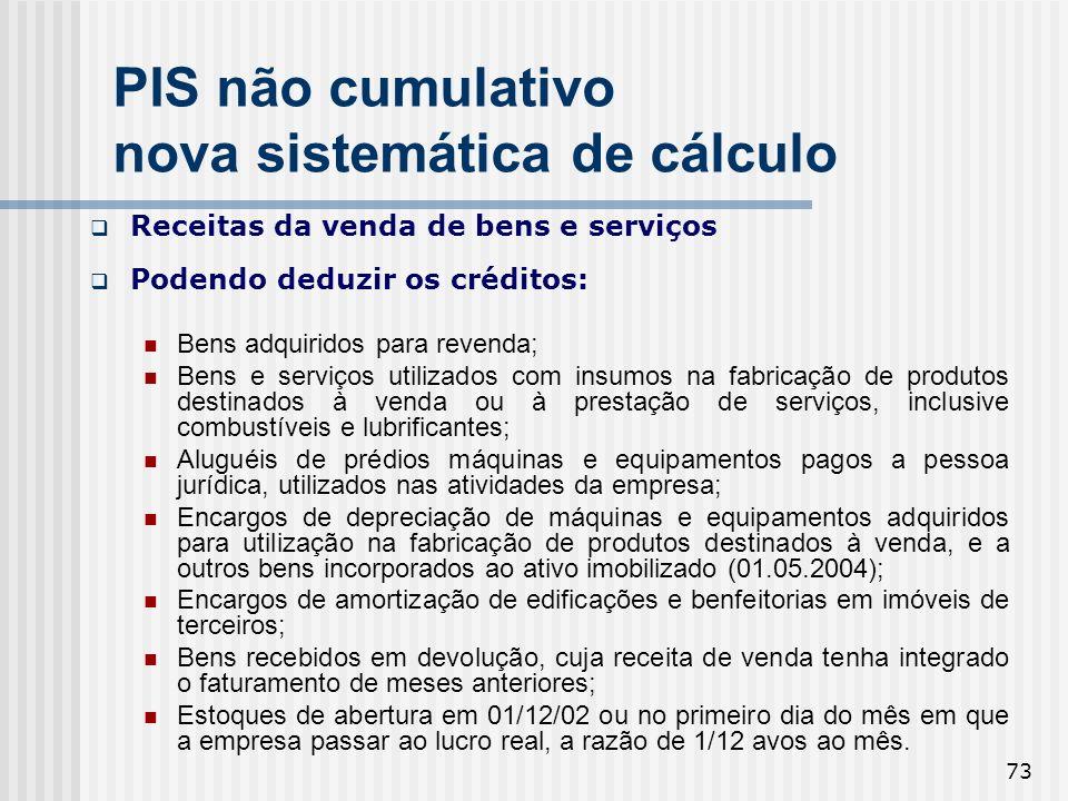 PIS não cumulativo nova sistemática de cálculo