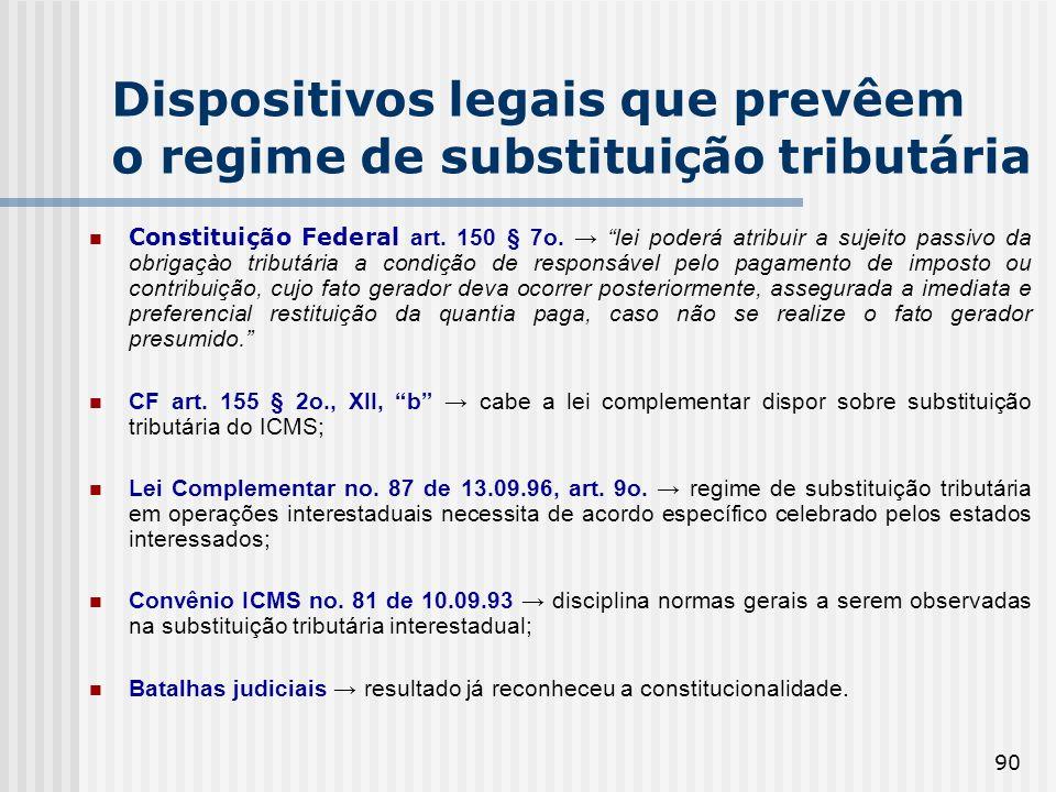 Dispositivos legais que prevêem o regime de substituição tributária
