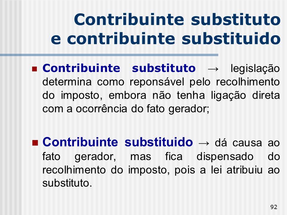 Contribuinte substituto e contribuinte substituido