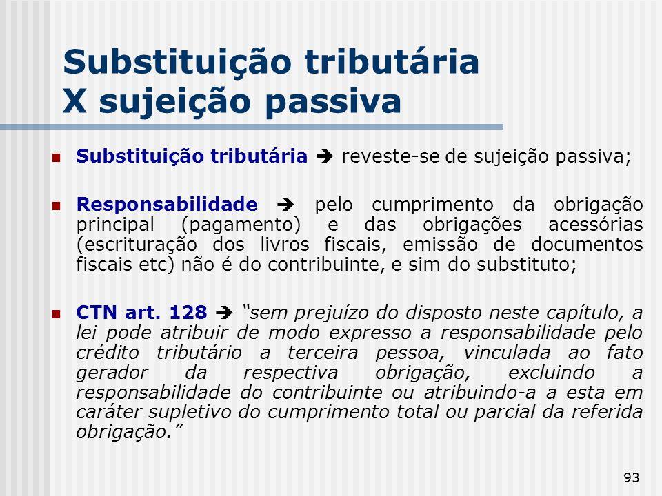 Substituição tributária X sujeição passiva