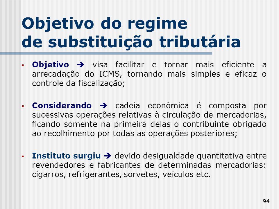 Objetivo do regime de substituição tributária