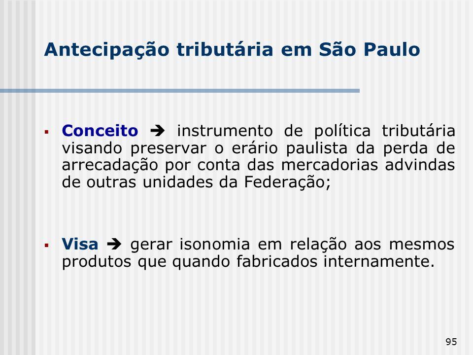 Antecipação tributária em São Paulo