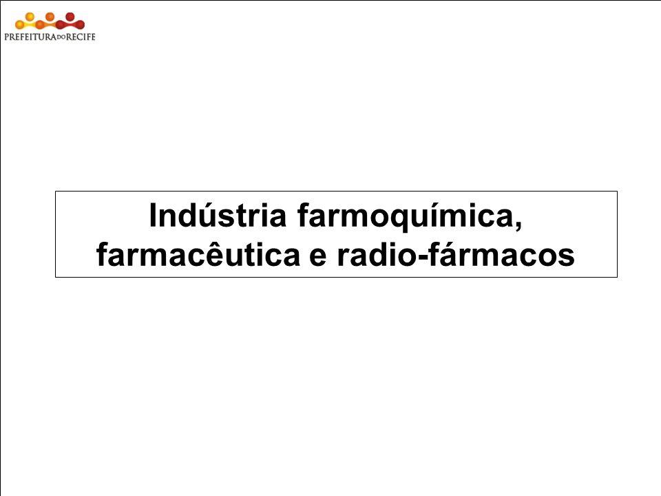 Indústria farmoquímica, farmacêutica e radio-fármacos