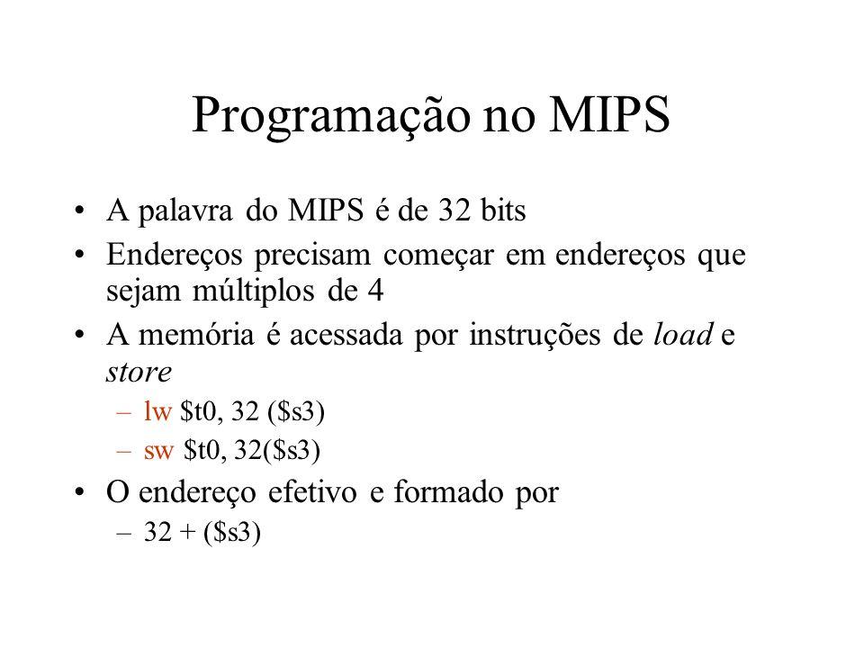 Programação no MIPS A palavra do MIPS é de 32 bits